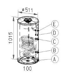 RVS indirecte, staande boiler - 100 liter