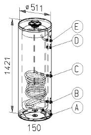 RVS indirecte, staande boiler - 150 liter