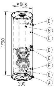 RVS indirecte, staande boiler - 300 liter