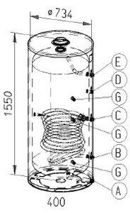 RVS indirecte, staande boiler - 400 liter