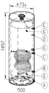 RVS indirecte, staande boiler - 500 liter