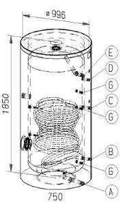 RVS indirecte, staande boiler - 750 liter