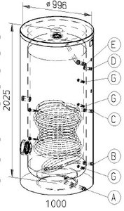 RVS indirecte, staande boiler - 910 liter